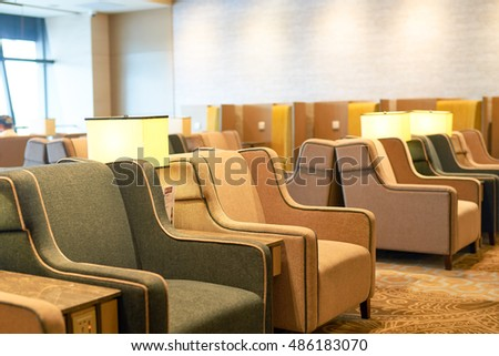 SINGAPORE - CIRCA SEPTEMBER, 2016: interior of Plaza Premium Lounge at Singapore Changi Airport. Changi Airport is the primary civilian airport for Singapore.
