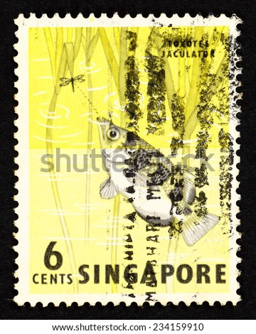 SINGAPORE - CIRCA 1962: Yellow color postage stamp printed in Singapore with image of a Toxotes Jaculator fish, also known as Banded Archerfish. - stock photo