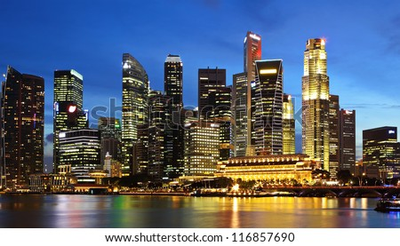 Singapore City at dusk - stock photo