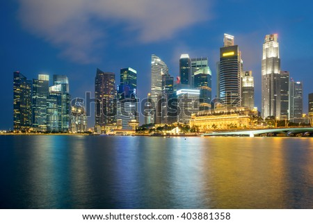 Singapore city in downtown district in night.
