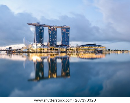 Singapore city, Marina bay point of view - stock photo