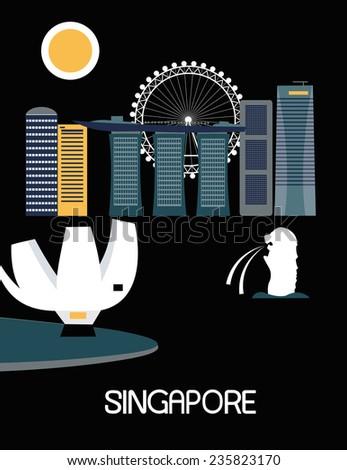 Singapore city on black background - stock photo