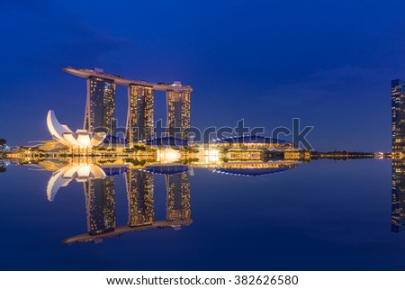 SINGAPORE CITY, SINGAPORE - FEBRUARY 19, 2016: Marina Bay Sands at night the largest hotel in Asia. It opened on 27 April 2010. Singapore on FEBRUARY 19, 2016 - stock photo