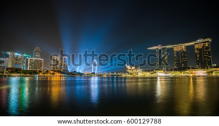 Singapore City, SINGAPORE - FEBRUARY 10, 2017 : Marina Bay Sands Hotel, Landmark of Singapore and Singapore Night Skyline at Marina Bay