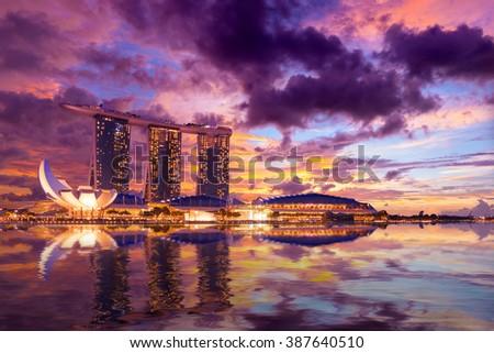 SINGAPORE CITY, SINGAPORE - FEBRUARY 18, 2016: Singapore Skyline And View Of Marina Bay sands. Travel, Singapore on FEBRYARY 18, 2016 - stock photo