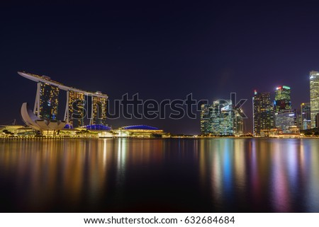 SINGAPORE CITY, SINGAPORE - FEBRUARY 10, 2017: View Of Marina Bay sands at night, Travel, Singapore on FEBRUARY 10, 2017
