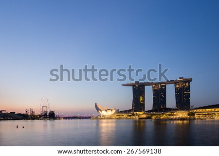 Singapore City, Singapore - June 21, 2014: Singapore Skyline and view of Marina Bay.