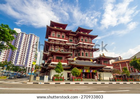 Singapore City, Singapore - June 23, 2014: The famous Buddha Tooth Relic Temple in Singapore.
