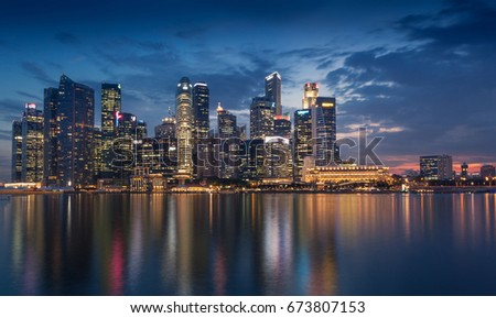 SINGAPORE CITY, SINGAPORE -13 MAY 2015: night Singapore skyline view at Central Business District.