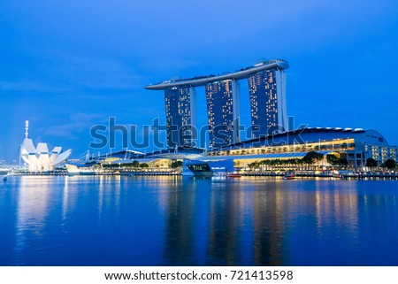 Singapore City, Singapore – November 22, 2014 : View of Marina bay sands resort hotel at night