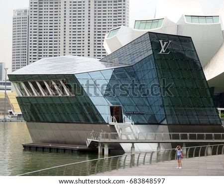 Singapore City, Singapore - 29th April, 2016: View of the Louis Vuitton in Singapore building, designed by FTL Design Engineering Studio, Marina Bay Sands, Singapore.