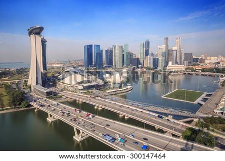 Singapore city skyline and view of Marina Bay - stock photo