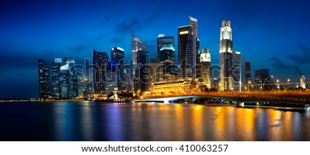 Singapore city skyline at dusk, Singapore referred to as the Lion City, the Garden City, and the Red Dot, is a global city and sovereign state in Southeast Asia.