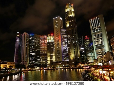 Singapore city skyline during the night