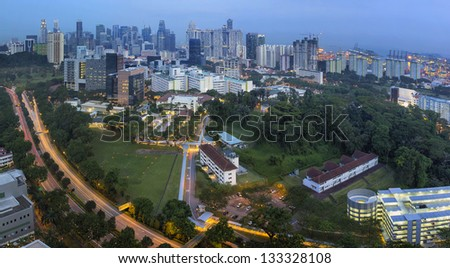Singapore City Skyline with Bukit Timah Central Expressway CTE at Evening Blue Hour Panorama
