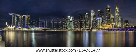 Singapore City Skyline with Highway Bridge Along Singapore River at Blue Hour Panorama