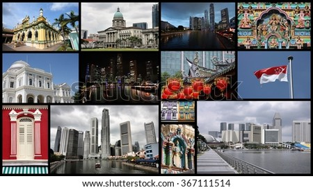 Singapore City travel photo collage  - stock photo