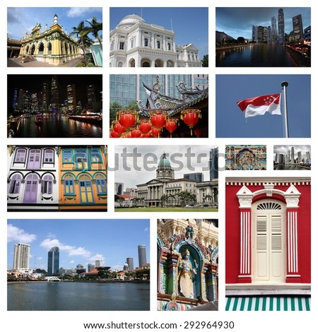 Singapore City travel photo collage - images collection. - stock photo