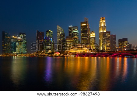 Singapore cityscape and Marina Bay in evening