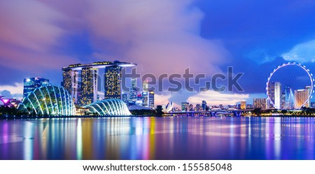 Singapore cityscape during sunset - stock photo