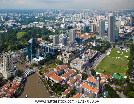 Singapore cityscape frome above