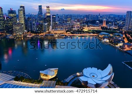 Singapore cityscape of the financial district at night, Singapore
