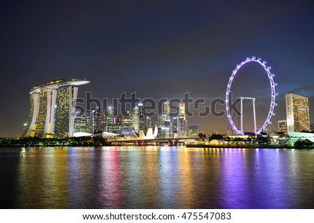 Singapore cityscape of the financial district at night , Singapore