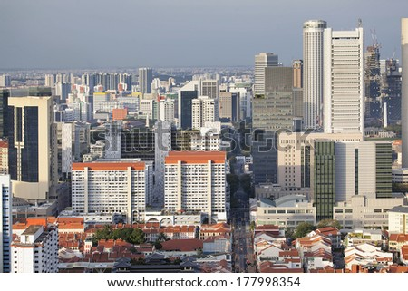 Singapore Cityscape with Chinatown and Central Business District - stock photo