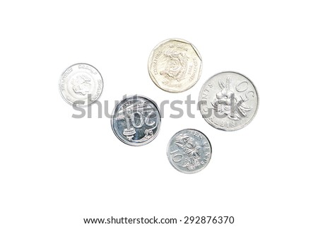 Singapore Coins currencies isolated on white background - stock photo