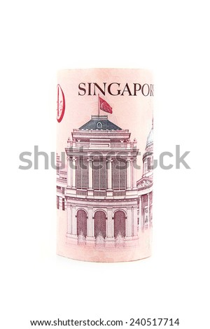 Singapore currency isolated on white background. - stock photo