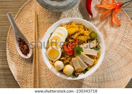 singapore curry laksa noodle - stock photo