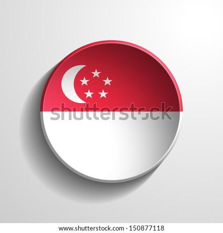 Singapore 3d Round Button - stock photo