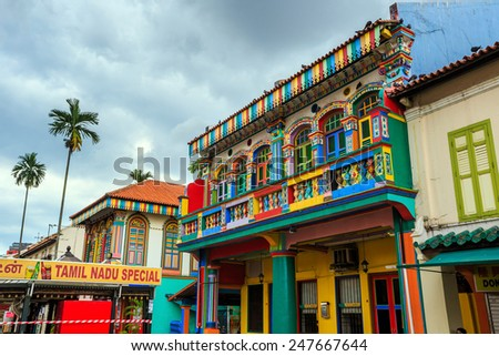 SINGAPORE-DEC 16, 2014: Colorful  building in Little India, Singapore on December 16, 2014. Little India is an ethnic neighborhood found in Singapore that has Tamil cultural elements and aspects.  - stock photo