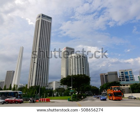 Singapore - Dec 14, 2015. Modern buildings at business district in Singapore.