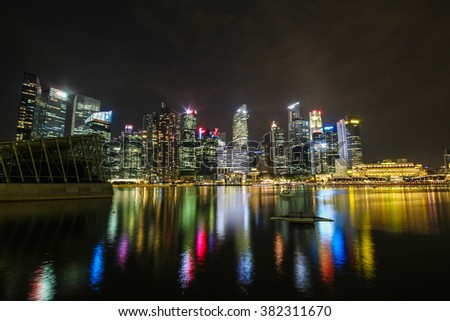 SINGAPORE - Dec 2014 Night view from Marina bay sands on Dec 04, 2014 in Marina bay at Singapore