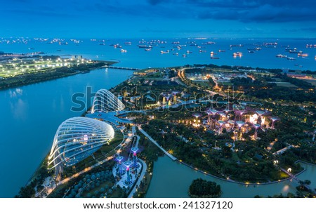 SINGAPORE-DEC 26 Night view of the Supertree Grove in the Graden by the Bay in Singapore.on Dec. 26, 2014 in Singapore - stock photo