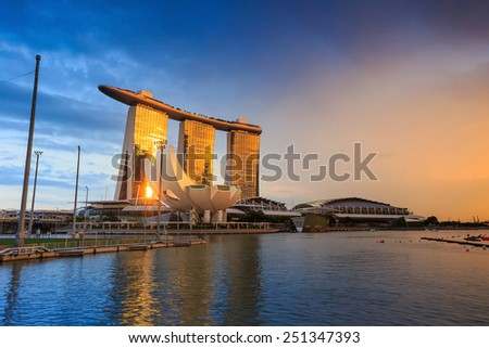 SINGAPORE-DEC 16, 2014:  View of Singapore skyline of Marina Bay Sands on December 16, 2014. Marina Bay Sands is billed as the world's most expensive standalone casino property at S$8 billion.