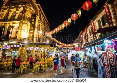 SINGAPORE - DECEMBER 14: Chinatown district on December 14, 2015 in Singapore. Singapore's Chinatown is a world famous bargain shopping destination. - stock photo