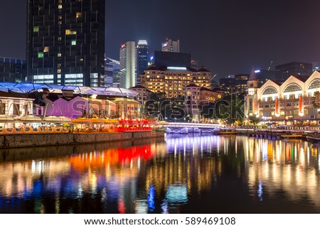 Singapore - December 3, 2016 : Clarke Quay is a historical riverside quay. Now, famous for dinner and night entertainment.