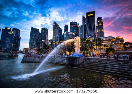 SINGAPORE - DECEMBER 15 2013: Panorama of the central business district in Singapore.