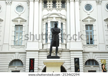 Singapore - December 7: Statue of Sir Stamford Raffles outside the Victoria Concert Hall. Photo Taken on 7th December 2008 - stock photo
