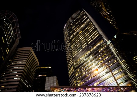 SINGAPORE - DECEMBER 9, 2014: View of skyscrapers in Singapore. Singapore is the world's fourth leading financial centre. - stock photo