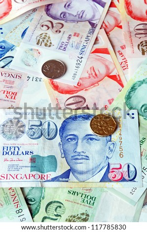Singapore Dollar is an important currency in asia, image with selective focus (else is not allowed)