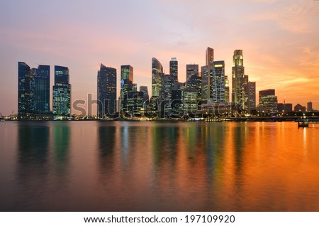 Singapore downtown at sunset. - stock photo