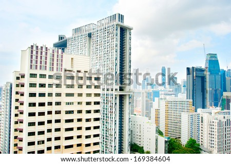 Singapore downtown. Look from unusual viewpoint