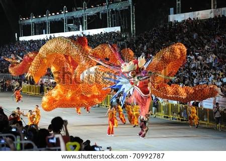 SINGAPORE - FEB 11 : chingay 2011 parade singapore, celebrates Lunar New Year at pit building Feb 11, 2011 in Singapore. - stock photo