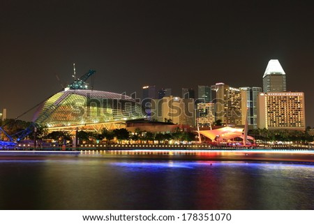 SINGAPORE - FEB 01: Esplanade Theatres on the Bay at night on February 01, 2014 in Singapore. Esplanade Theatres on the Bay is a building located on six hectares land alongside Marina Bay.