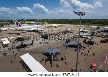 Singapore 16 Feb 2016: Fighter jets, passenger aircraft and more at the static aircraft display at the Singapore Airshow 2016. This is a biennial event and is the largest of its kind in Asia.