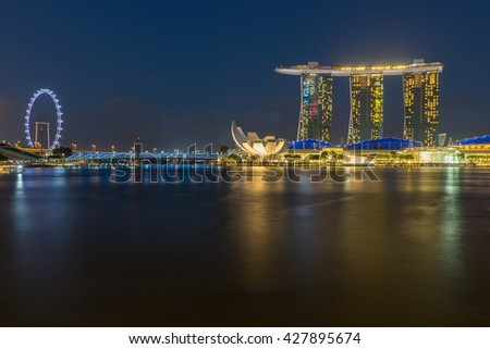 SINGAPORE - FEB 27, 2016: Night scene at Marina Bay Sands. Marina Bay Sand is one of the most famous tourist attraction in Singapore.
