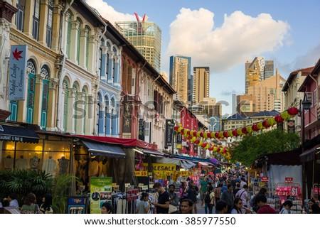 Singapore, 25 Feb 2016: Popular tourist destination along busy Chinatown street. - stock photo